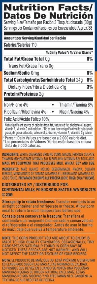 Albers White Corn Meal 40oz Nutrition Facts, Ingredients and information
