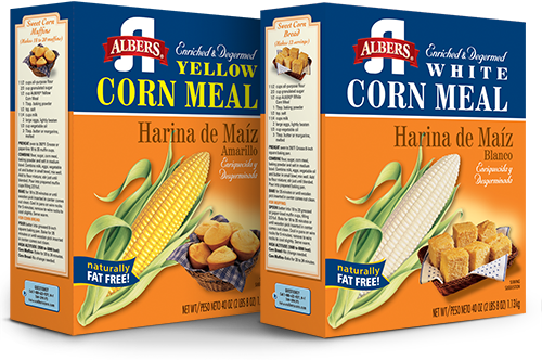 Two corn meal cartons