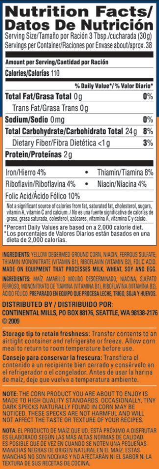Yellow Cornmeal Nutrition Information